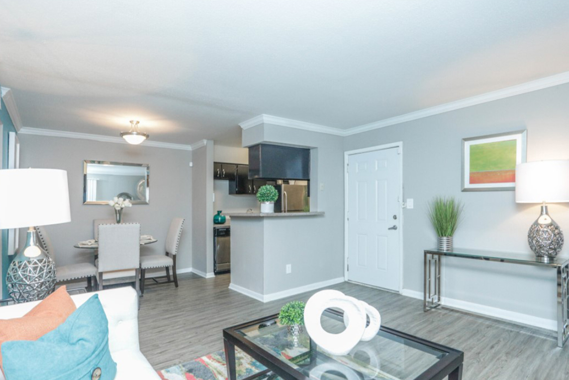 Interior living space and kitchen at Woodstone Manor apartment